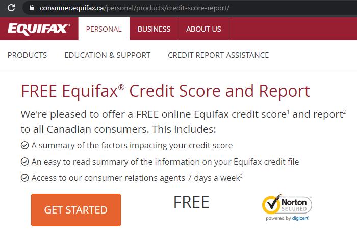 Equifax申请免费信用报告