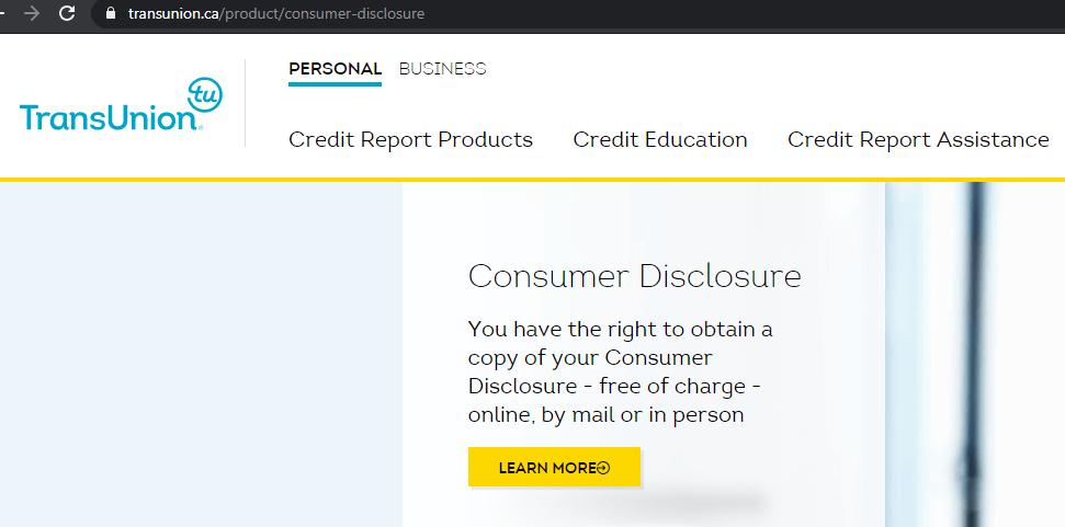 TransUnion申请免费信用报告