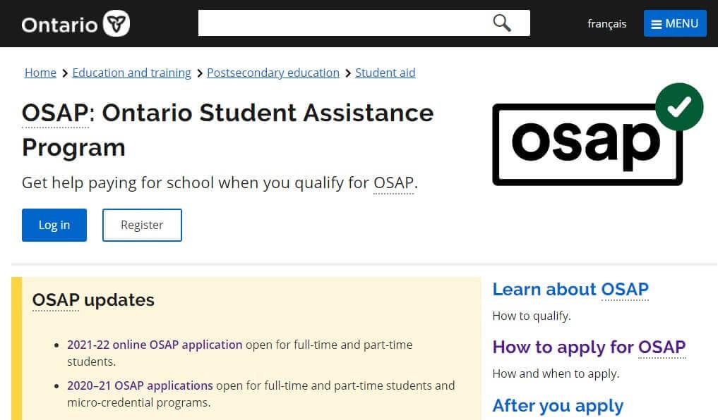 安省2021-2022学年OSAP学生网上助学申请现已开始啦