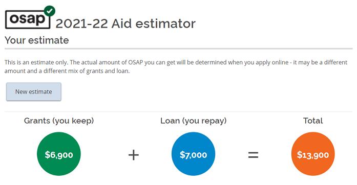 安省2021-2022学年OSAP学生网上助学申请金额估算