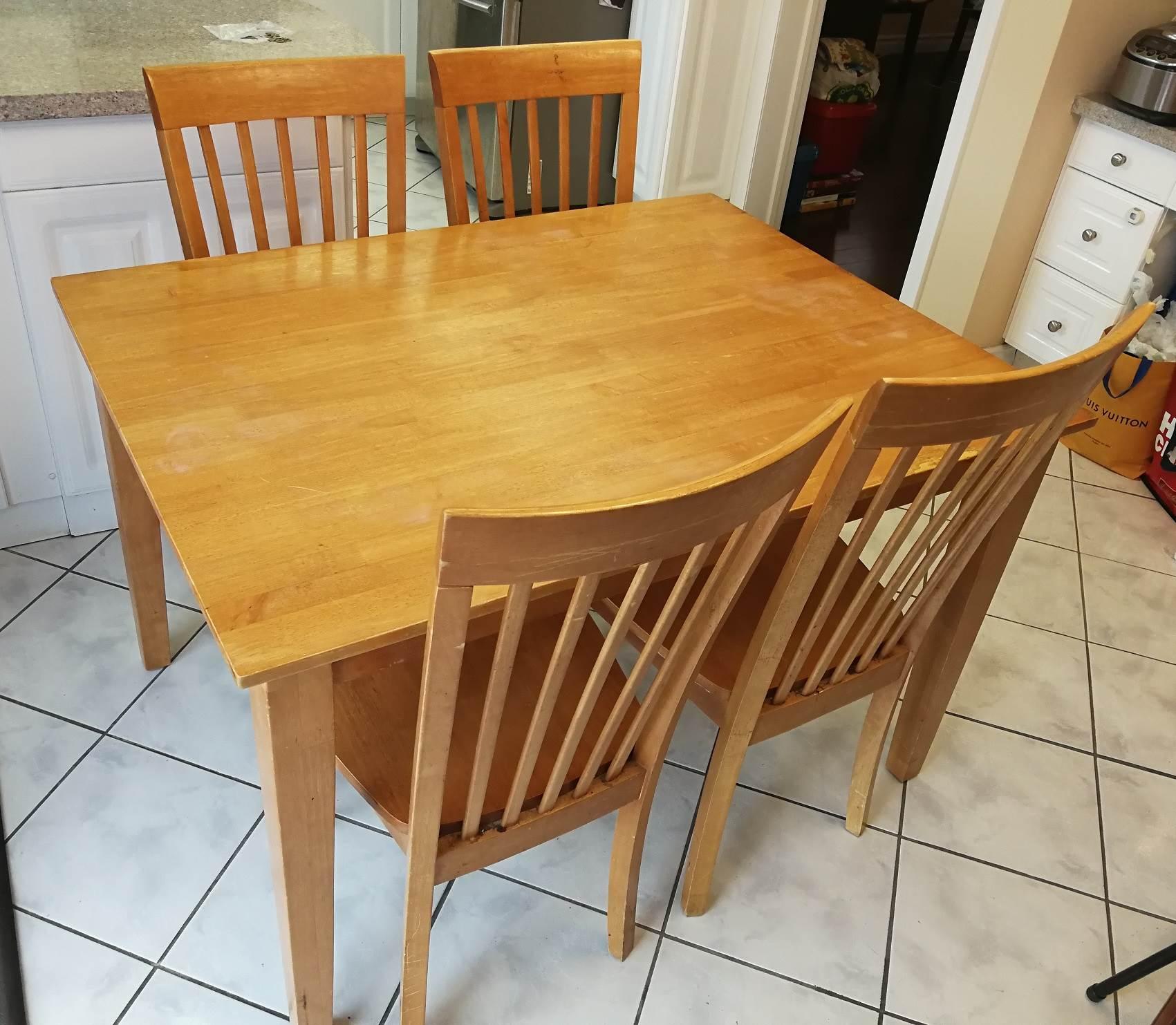 转让闲置餐桌(一桌四椅)$50